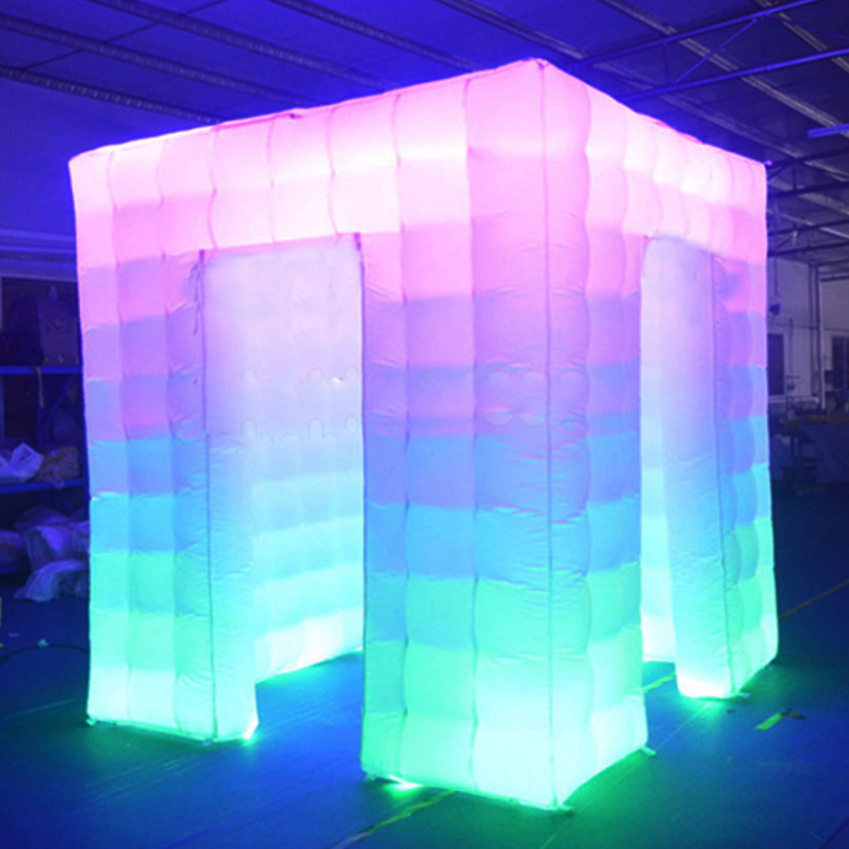 Inflatable Photo Cabin Inflatable Cube Tent 2 Door LED Color Bulb Strip Inflatable Photo Photography Booth Photography Cube