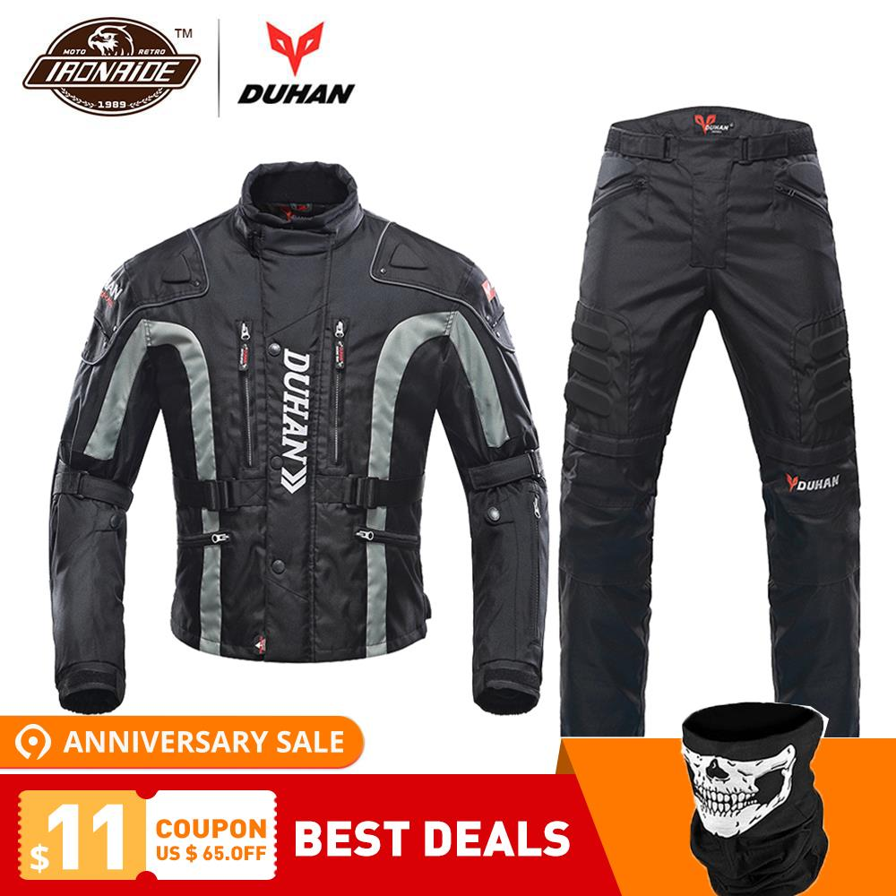DUHAN Moto Veste Kits Coupe-Vent équipement de protection Veste + ensemble de pantalon Hanche Protecteur costume d'équitation pantalon de Moto Moto Veste