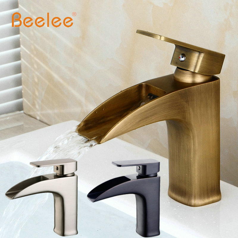 New Antique faucet Free Shipping Solid Brass Oil Rubbed Bronze Bathroom Sink Basin Faucet Black Deck Mounted Mixer Tap BL0555A newly solid brass oil rubbed bronze 3pcs bathroom sink basin faucet mixer tap dual ceramics handle three holes deck mounted
