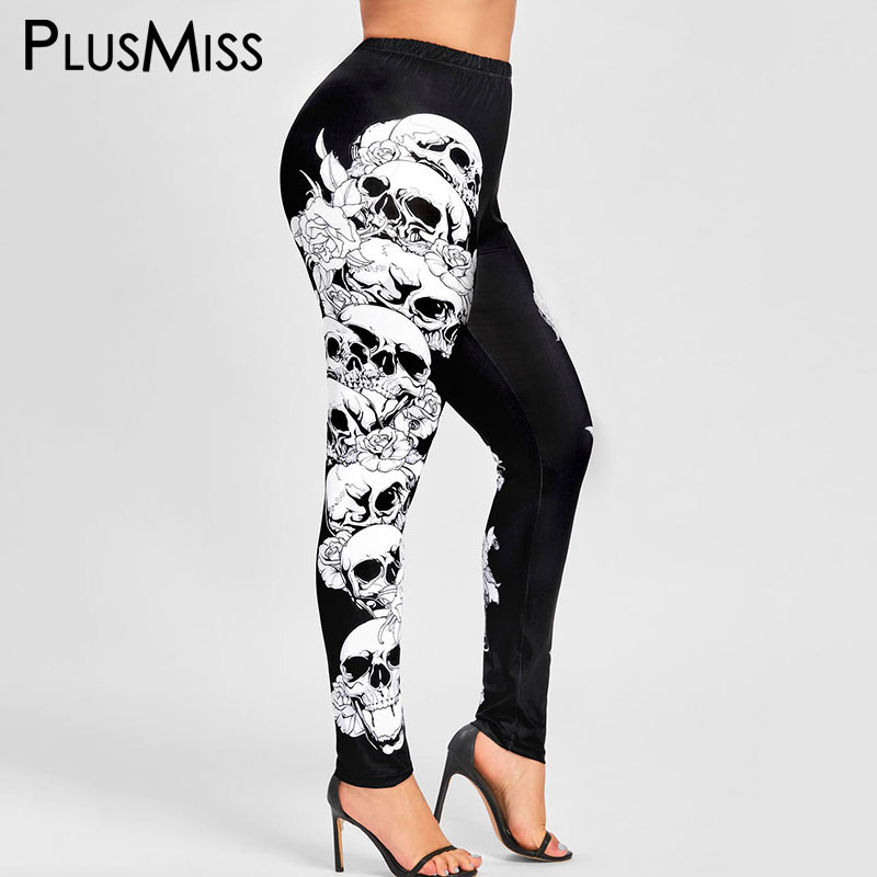 PlusMiss Plus Size Halloween Skull   Leggings   Women Black High Waist Sexy Skinny Jeggings Female Fitness Leggins Big Size Legins