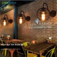 Laingderful 철 led 크리 에이 티브 벽 램프 로프트 빈티지 벽 램프 거실 인터넷 바 커피 하우스 램프