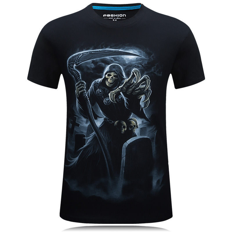 3D Printed Designer T Shirt For Men Short Sleeved T-shirts Novelty Pullover Mens Clothing Tops With skeleton death Tshirt