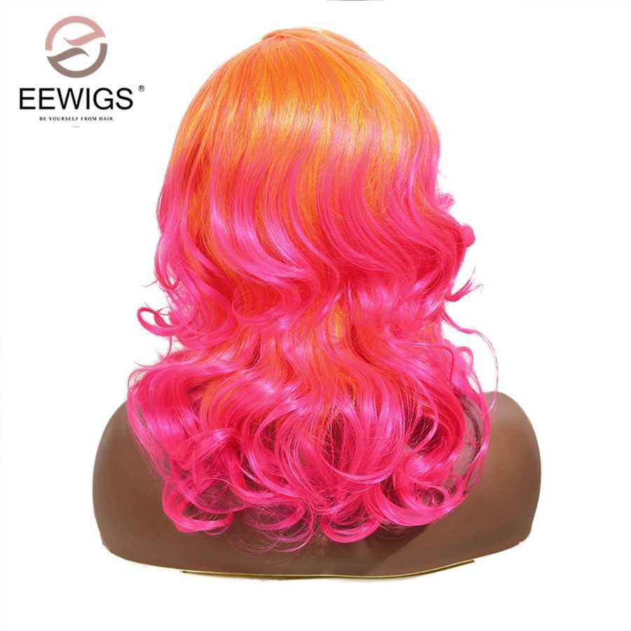 EEWIGS pomarańczowy różowy syntetyczna koronka peruka front z przedziałek z boku 14 Cal Drag Queen krótki peruka z falowanymi włosami 13x4 Ombre Bob peruki dla kobiet