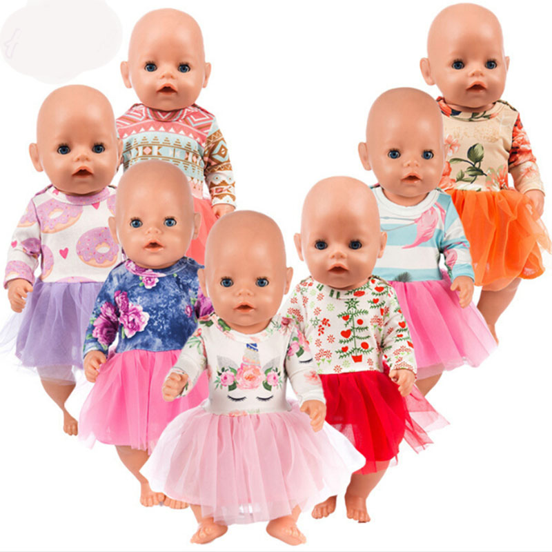 Colorful Dress Doll Clothes Fit 18 Inch 43cm Doll Clothes Born Baby Dress For Baby Birthday Festival Gift