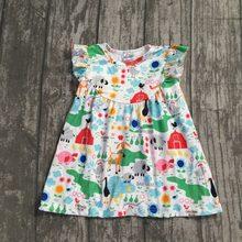 0cd44b74d 2018 Summer dress baby girls milk silk farm girl chicken run short sleeves  animal print ruffles clothing boutique 2-8t available