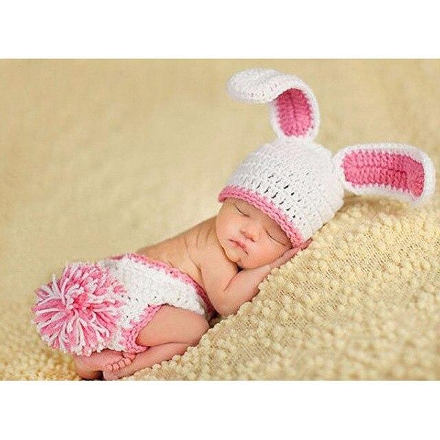 3db9c8acbaf Costume Baby Hat Short Set Handmade Knit Crochet Newborn Photography Props  Cute Rabbit Baby Hat and Shorts MH031