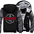 USA size New England Patriots Zipper Jacket Sweatshirts 5-Time Super Bowl Champions Pullover Thicken Fleece Hoodie Unisex Coat