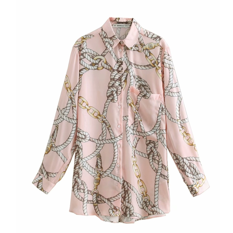 New Women Fashion Chain Print Casual Pink Smock Blouse Shirts Women Pocket Chemise Chic Blusas Long Sleeve Femininas Tops LS3162