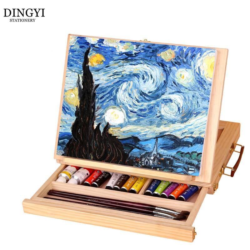 Chevalets de Table en bois réglables pour peinture peinture à l'huile artiste tiroir boîte Portable accessoires de bureau valise peinture Art fournitures
