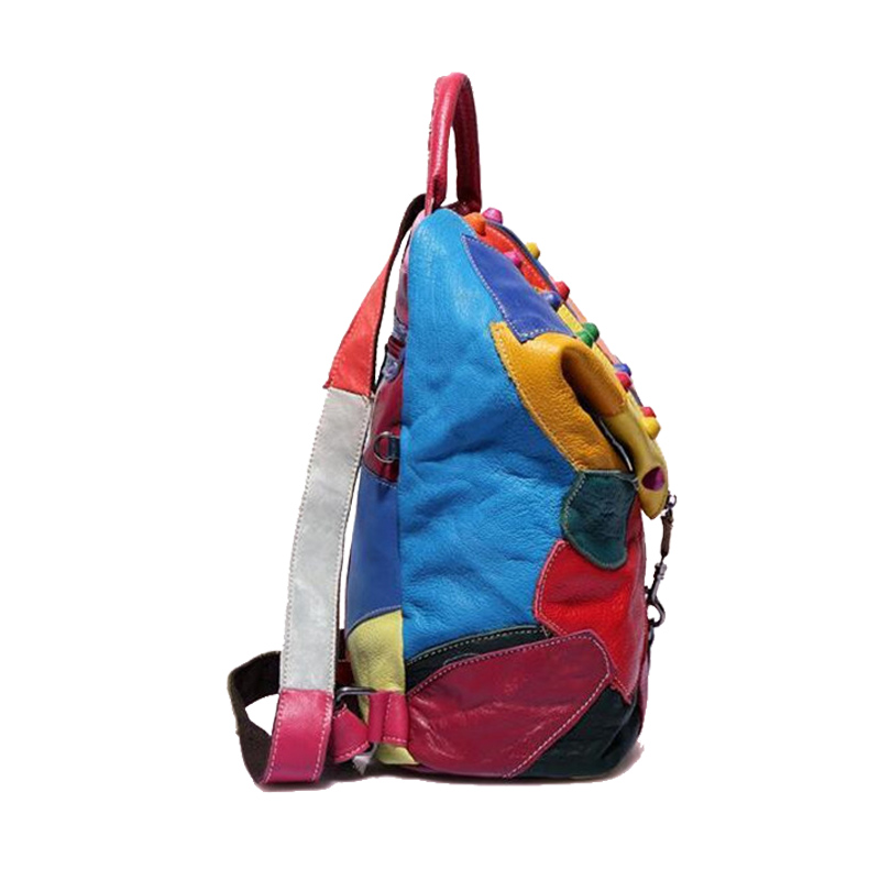 Temena Women Backpac Real Genuine Leather Backpack Panelled Backpacks Fashion Colorful Patchwork Female Personality Bag ABP335