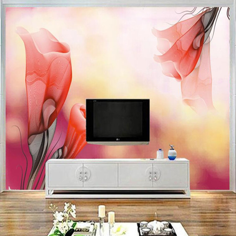 3D Wall Paper for Walls Hand Painted Non-Woven Wallpapers Orange Petunia Mural Living Room Decorative Wallpaper Porch Background home improvement decorative painting wallpaper for walls living room 3d non woven silk wallpapers 3d wall paper retro flowers