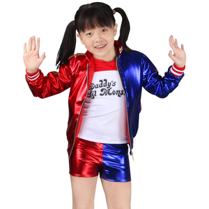 Harley quinn cosplay Costume kids girl Suicide Squad Harley Quinn embroidery Sets harley jacket Joker shorts Monster Clown Dress(China)