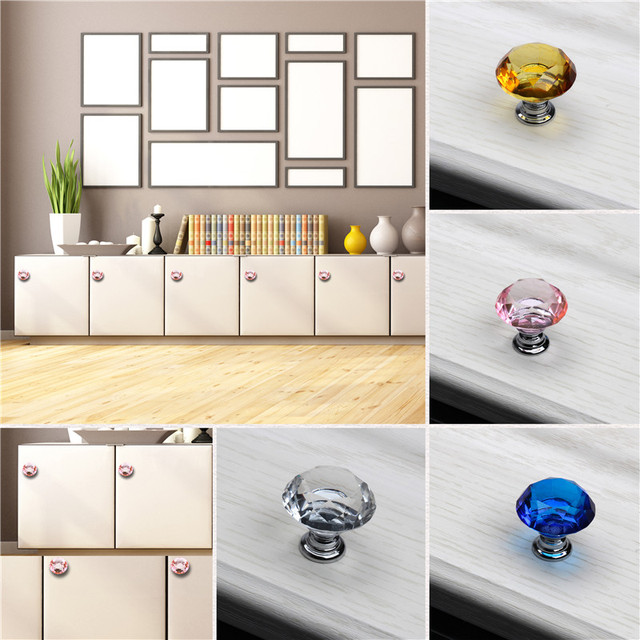 4pcs Set Crystal Gl Door Handles For Drawer Clear Kitchen Cabinet Cupboard Wardrobe Pulls S Furniture Accessories