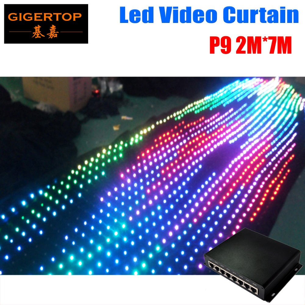P9 2M*7M Fireproof Led Vision Curtain Wedding Stage Backdrop Light Curtain Make Program Light Curtains With Online Controller
