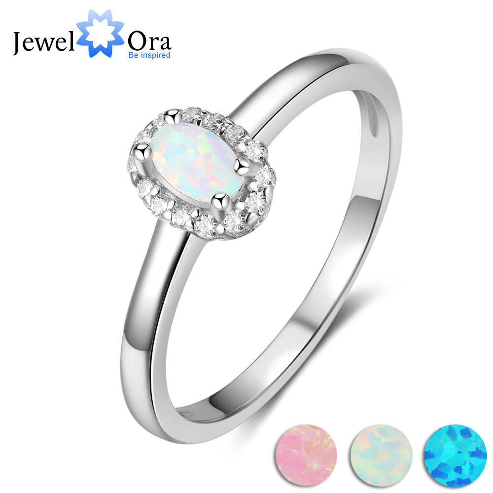 Engagement Ring Opal-Stone 925-Sterling-Silver jewelry Women Accessorise Classic Soild