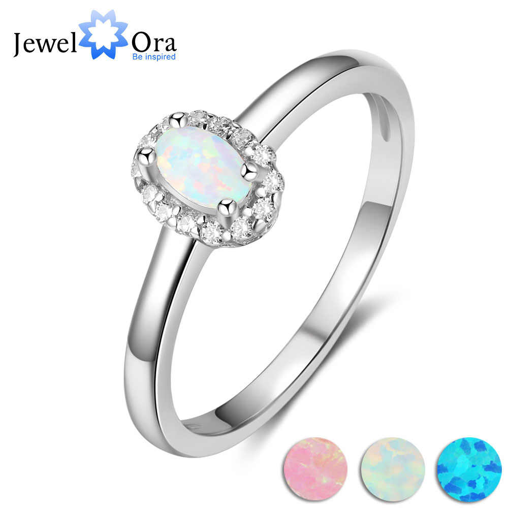 Classic Oval Shape Opal Stone Engagement Ring Soild 925 Sterling Silver Jewelry Accessorise Rings For Women (JewelOra RI103626 )