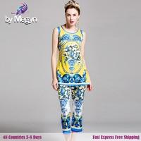 Women S Brand Summer Runway Desginer Blue And White Porcelain Print Sleeveless Shirts Ankle Length Pant