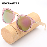 HDCRAFTER Sunglasses Men Women Fashion Glasses Wood Brand Designer Retro Vintage Bamboo Sunglasses Top Quality UV400