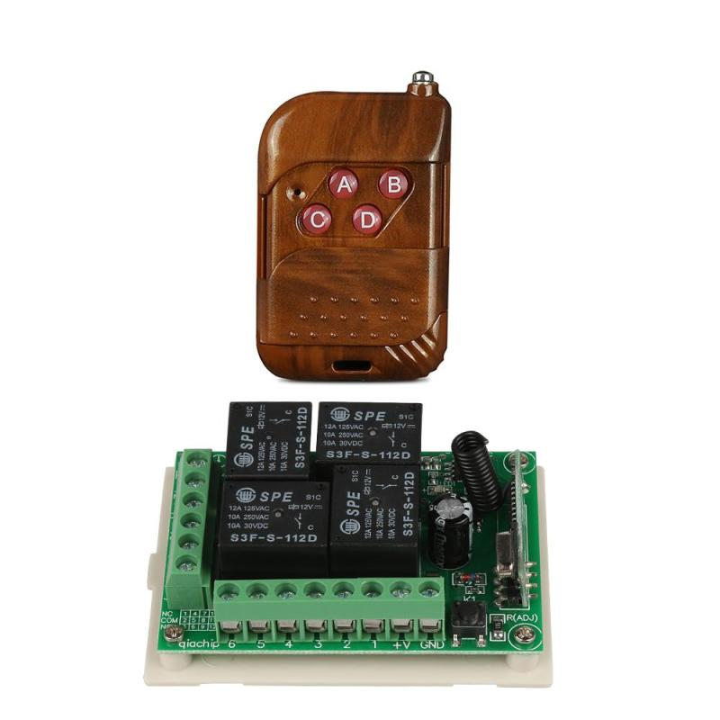 433 Mhz RF Universal Wireless Remote Control light switches DC 12V 4CH Relay Receiver Module with 4 buttons Mhz Transmitter Kit new 1transmitter &4receiver module wireless remote control encoding module system momentery latched rf remote control switches