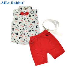 Hot sale! 2016 Summer style Children clothing sets Baby boys girls t shirts+shorts+belt 3pcs pants sports suit kids clothes