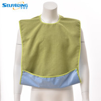 Green Blue Purple Terry Adult Bib With Button Closure And 10cm Adjustable Crumb Catcher AB 240
