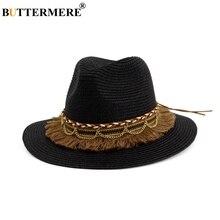 BUTTERMERE Black Sun Hat Tassel Cap Women Beach Straw Vintage Ladies Hats For Summer 2019 New Ariival Womens