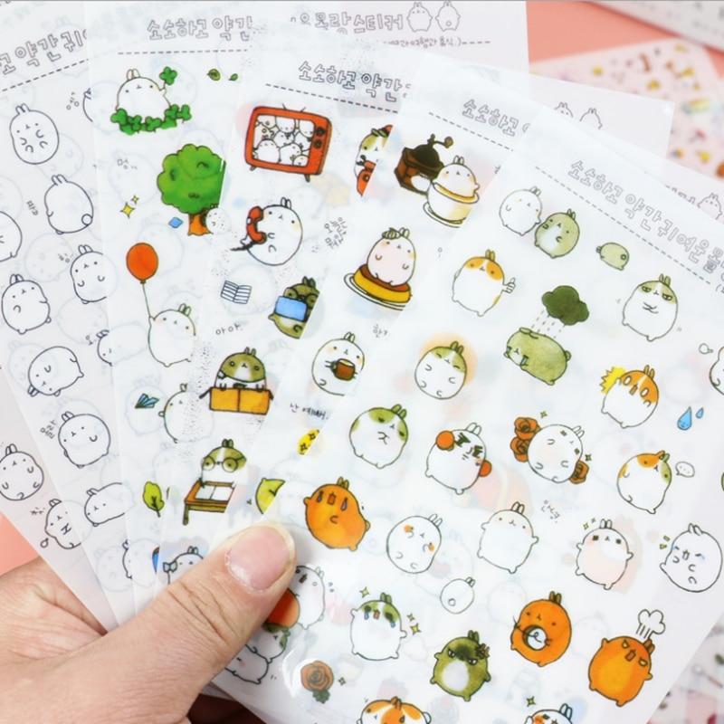 6 Sheet / Bag Kawaii Molang Cartoon Rabbit Mobile Decorative Stickers DIY Diary Album Stickers Cute School Supplies Stationery