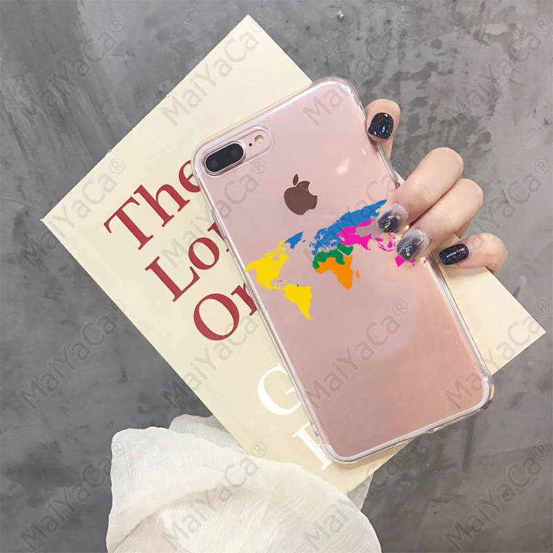 MaiYaCa Art watercolor world map Soft Silicone TPU Phone Cover for iPhone 8 7 6 6S Plus 5 5S SE XR X XS MAX Coque Shell in Half wrapped Cases from Cellphones Telecommunications