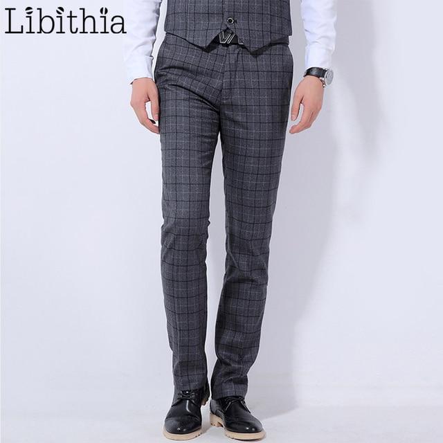 Men Plaid Formal Suit Pants Big Size 28 36 Casual Slim Fit Trousers