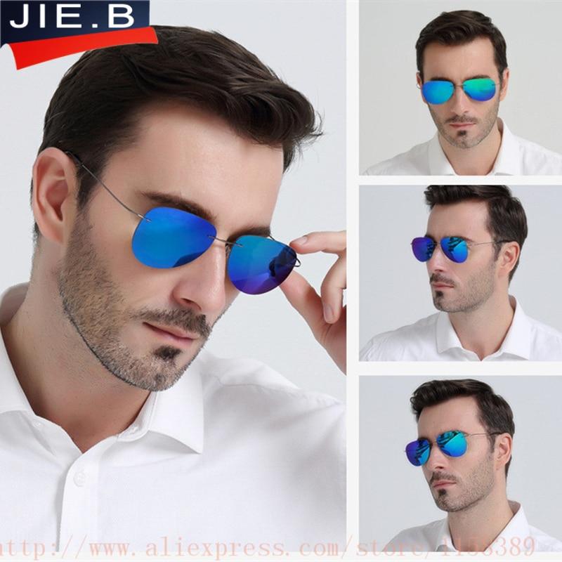 Ultra-léger Flexible Titanium alliage Miroir Sans Monture Lunettes de Soleil Polarisées Hommes Lunettes Lunettes Unisexe Oculos de sol feminino