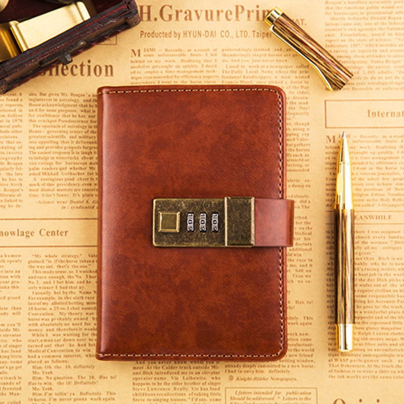 Vintage Notebook Filofax A7 Bullet Journal Pocket Notebook With Lock Leather Personal Diary Mini Planner Traveler Sketchbook