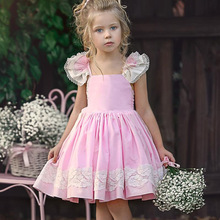 Children Clothes 2019 Summer Girls Dress Knee Length Plaid Pleated Dress Lace-up Backless Ball Gown Party Dress Girl Kids Green