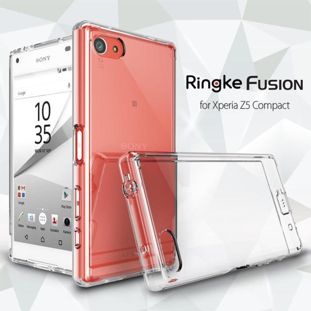 100% original ringke fusão case for sony xperia z5 compact (4.6 polegada) Crystal Clear Voltar Painel Casos de Resistência Queda