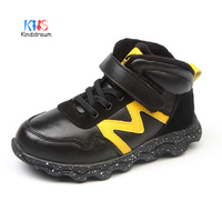 Kindstraum New Winter Warm Autumn Boy Leather Shoes Sports Style Patch Kids Rubber Sneakers Fashion Children Boots ,MJ148