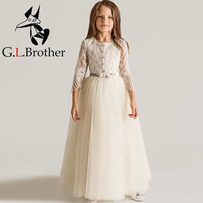 Cute Long Sleeve Ankle-Length Girl Dresses For Weddings And Party Summer 2017 Exquisite Bowknot Girl O Neck Princess Dresses P25 2 style fashion mesh girls summer dresses 2017new design o neck girl dress for party long sleeve diamond dresses kid clothes p31