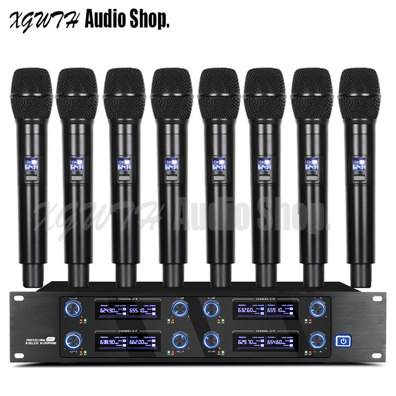 UHF 8 Channels Handheld Wireless Microphone System Cordless Mic Professional for Stage KTV Karaoke Singing Party Club School