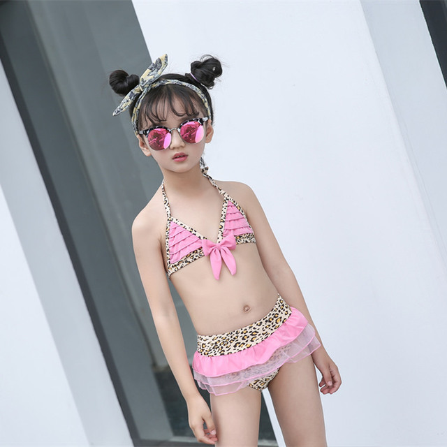 c4b1504aeab Newborn Baby Girl Swimwear Teenage Girls Swimwear Swimsuit Kids Bikini Set  Bra+pants 2 Pcs Children Beachwear Swimming Suit