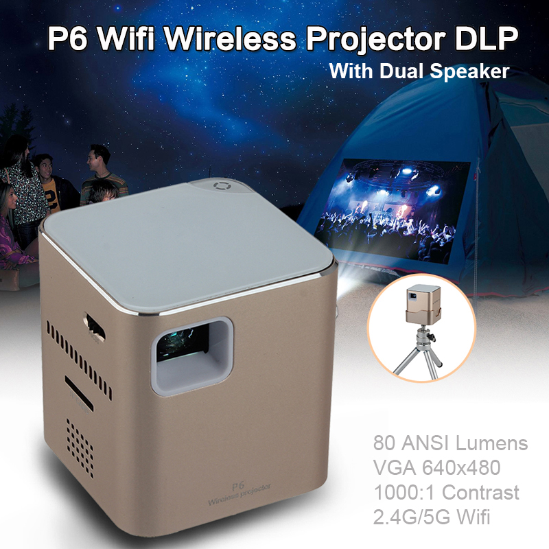 P6 Mini Pocket VGA 640x280 Wifi Wireless DLP LED Projector HD For Android/IOS 80 ANSI Lumens Dual Speaker Video Projector Beamer