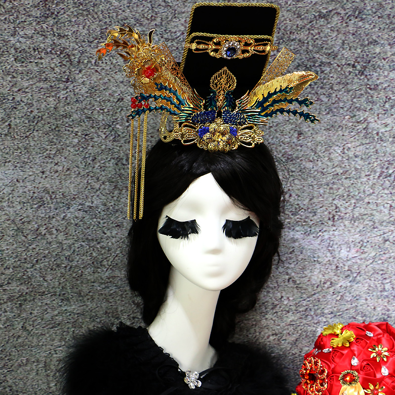 ancient product hair vintage hair ornaments chinese ancient dynasty queen hair accessories empress crown royal queen crown black and coffee 2 colors hair tiara ancient chinese emperor or prince costume hair crown piece cosplay use for kids little boy