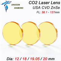 CO2 Laser Focus Lens USA ZnSe Diameter 25mm Focus Length 38.1 50.8 63.5 76.2 101.6 127mm 1.5 5inch For Laser Engraver Cutter