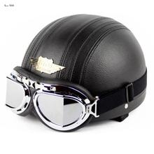 L's Professional Leather Cover motorbike Helmet Novelty Motorcycle Helmet classic retro helmet with goggles