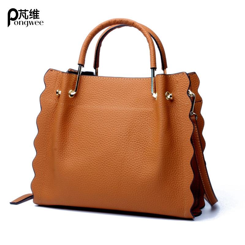 7edeec062436 PONGWEE новые кожаные Сумки прилив Европа и Соединенные Штаты модные сумки  карге Ёмкость кожаная сумка
