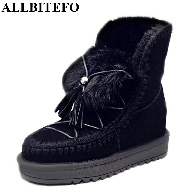 ФОТО ALLBITEFO genuine leather Height Increasing winter snow boots fashion tassel short women boots high heel martin ankle boots