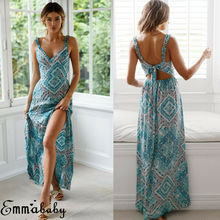 Hot Women Beach Long Maxi Dress V Neck Floral Boho Sexy Sleeveless Print Strappy Blue Summer Backless Casual Party Sexy Sundress купить дешево онлайн
