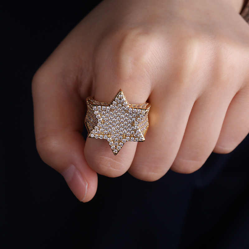 Nowy Iced Out Hexagon Star Rings dla mężczyzn/kobiet Micro betonowa złoty kolor srebrny wykończenie Cubic zawieszka z cyrkonią Hip Hop biżuteria pierścień prezent