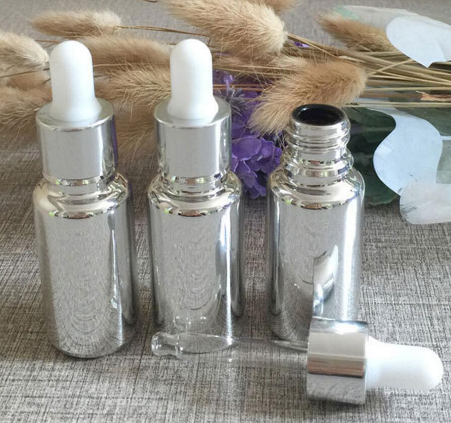 High Grade 30ml Silver Glass Dropper Bottles Wholesale 1: Hot Sale High Grade 100pcs Empty 15ml Silver Glass