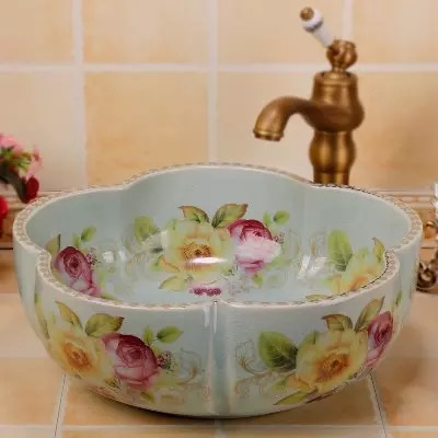 Ice crakle flower rose painted ceramic hotel home bathroom hand wash basin sink