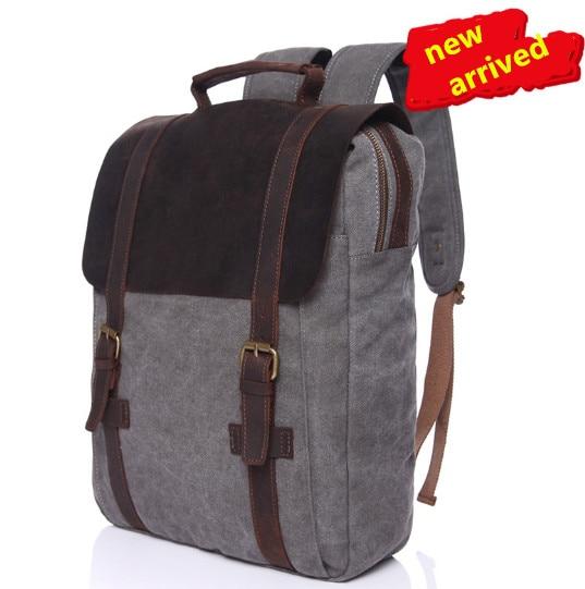 Retro canvas bag crazy horse leather men s shoulder bag leisure men bag shoulder computer backpack