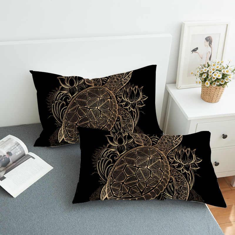 Turtles Pillowcase Animal Print Neck Pillow Case Golden Tortoise Decorative Pillow Cover Flower Lotus Bedding PC93