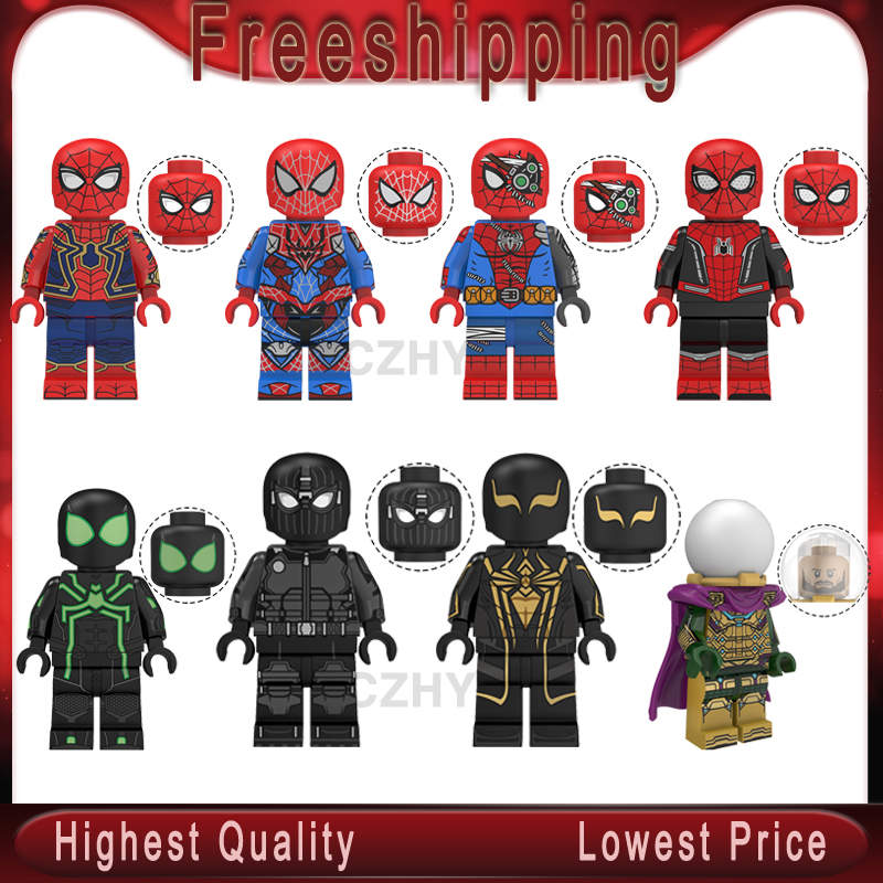 Spider Man Far From Home Figure Super Hero Mysterio Spider Man Noir Gwenom Building Blocks Bricks Toys For Child Kt1027